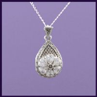 Tear Drop Locket with Marcasite and Crystal Clear CZ